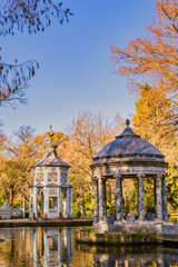 Gardens of Aranjuez. Estanque de los Chinescos near the Royal Palace.  Madrid city Spain. the gardens  are near the  palace of the king in Madrid. it is a beautiful place to do toursim and travel in a