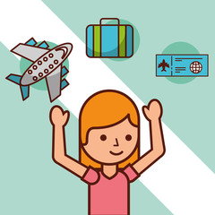 time to travel girl tourist airplane suitcase airticket vector illustration