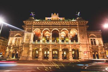 Night view of Vienna State Opera building facade exterior, Austria