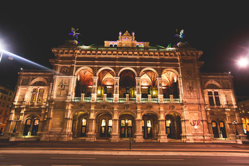 Night view of Vienna State Opera building facade exterior, Austria