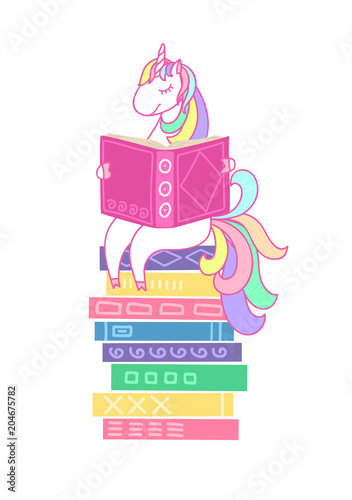 unicorn reading book on stack of books on white background