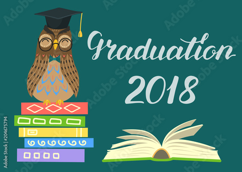Graduation 2018 wise owl on stack of books open book and lettering wise owl on stack of books open book and lettering on teal stopboris Choice Image