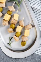 Cheese and olive appetizers
