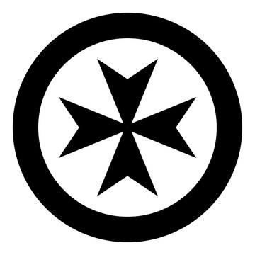 Maltese cross icon black color vector illustration simple image