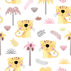 Seamless background with cartoon tigers
