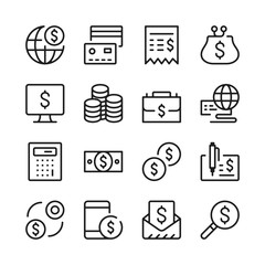 Financial line icons set. Modern graphic design concepts, simple outline elements collection. Vector line icons