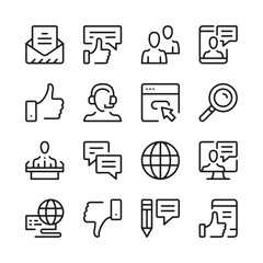 Communication line icons set. Modern graphic design concepts, simple outline elements collection. Vector line icons
