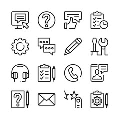 Customer service line icons set. Modern graphic design concepts, simple outline elements collection. Vector line icons