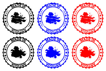 Made in Antigua - rubber stamp - vector, Antigua map pattern - black, blue and red