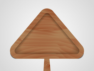 Triangular wooden sign. Vector illustration