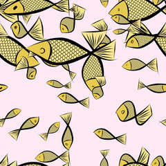 Seamless illustrations of fish. Creative, line, effect & canvas.