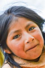 Poor messy native american little girl.