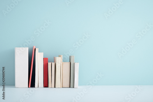Stack of miniature books on a shelf