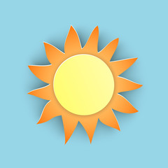 Vector illustration, yellow sun in papercut style with transparent shadows isolated on blue background