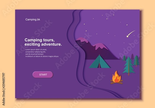 Evening Camp Whith Bonfire And Tent Pine Forest Rocky Mountains In Trandy Paper Cut Style