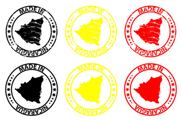 Made in Nicaragua - rubber stamp - vector, Nicaragua map pattern - black, yellow and red