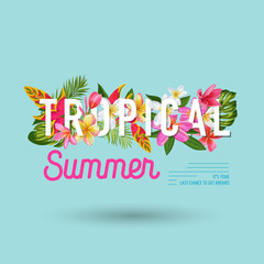 Hello Summer Floral Poster. Tropical Exotic Flowers Design for Sale Banner, Flyer, Brochure, Certificate, Fabric Print. Summertime Watercolor Background. Vector illustration
