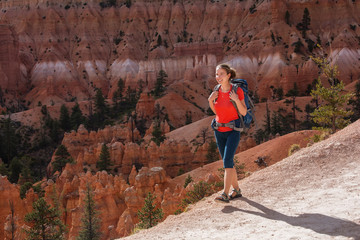 Hiker visits Bryce canyon National park in Utah, USA