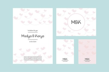 Wedding card designs bird vector