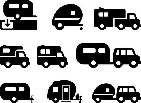 Camper Trailer Icons - Black Series