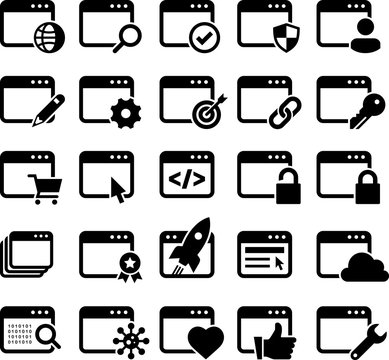Web Pages Icons - Black Series - Illustration