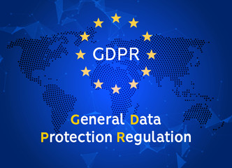 General Data Protection Regulation GDPR. Internet european safety. Privacy secure data protection