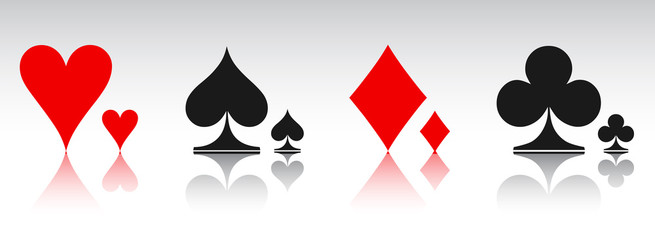 Colored card suit icon vector, playing cards symbols - for stock