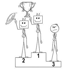 Cartoon stick man drawing conceptual business or sport illustration of winners on podium, human is third, defeated by two robots. Concept of artificial intelligence superiority over mankind.