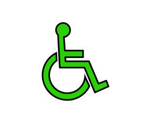 車椅子マーク(線画、緑)