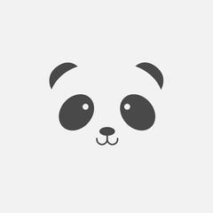 Baby panda face cute vector icon