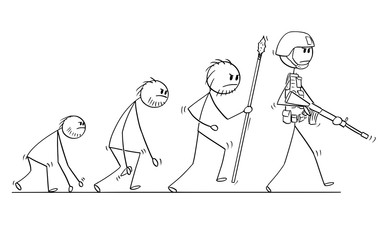 Cartoon stick man drawing conceptual illustration of modern human soldier or warrior evolution process progress. Concept of war and human violent nature.