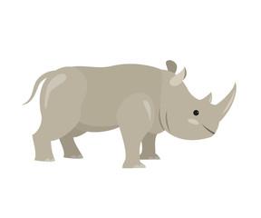 Cute rhinoceros on white background.