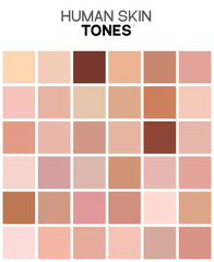 Skin tone color chart. Human skin texture color infographic palette. Facial care design