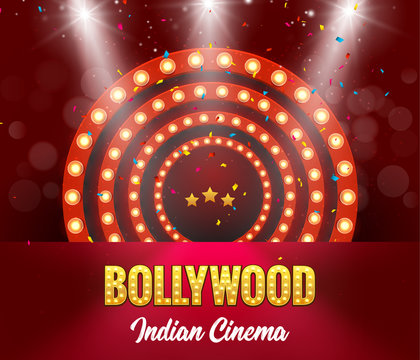 Bollywood Indian Cinema Film Banner. Indian Cinema Logo Sign Design Glowing Element with Stage