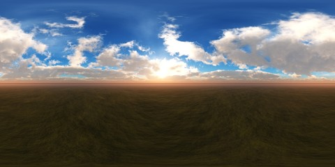 panorama of the landscape of the earth under the clouds, HDRI, environment map, Round panorama, spherical panorama, equidistant projection,