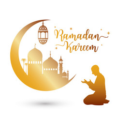Ramadan kareem greeting card with mosque and prayer, vector