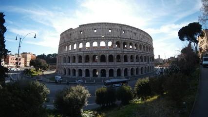 Colosseum; landmark; structure; city; building