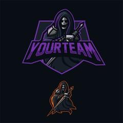 grim reaper holding sword esport gaming mascot logo template