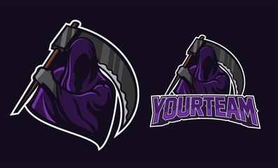 grim reaper holding scythe esport gaming mascot logo template