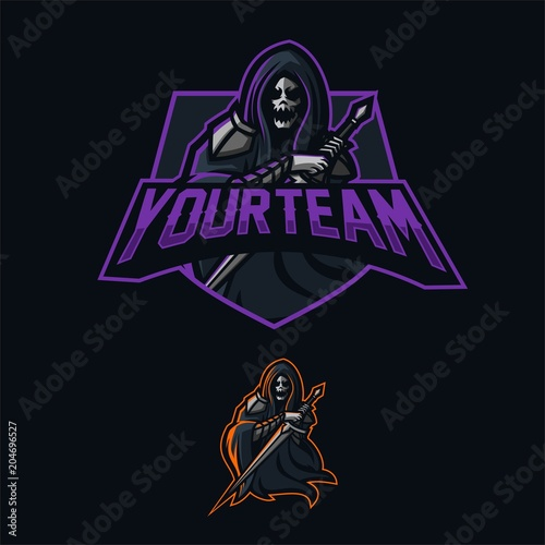 grim reaper holding sword esport gaming mascot logo template stock