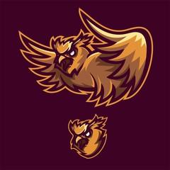bird owl esport gaming mascot logo template