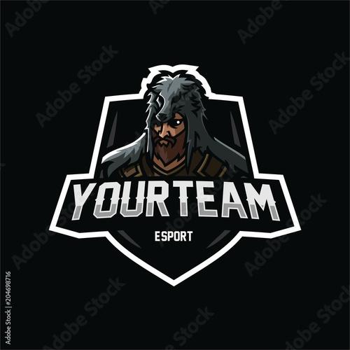 icelandic warrior esport gaming mascot logo template stock image
