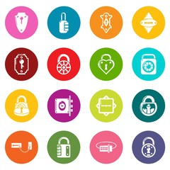 Lock door types icons set colorful circles vector