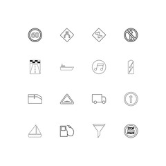 Cars And Transportation linear thin icons set. Outlined simple vector icons