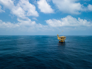 Wall Mural - Aerial View of Offshore Production Platform in the Middle of Ocean for Oil and Gas Production