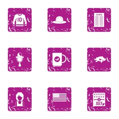 American day icons set, grunge style