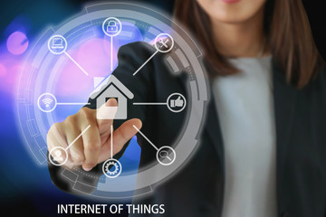 Internet of things IOT concept. Business solution represented by symbol connected with icons of typical Smart digital home internet in every day lifes