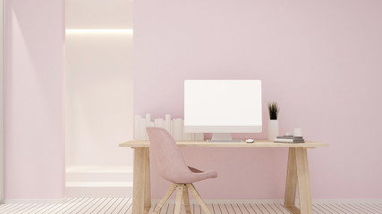 Study room and pink wall decorate for artwork - Study area or workplace in home office or apartment - 3D Rendering