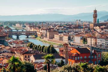 View of Florence cityscape from Piazzale Michelangelo in Italy