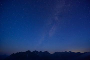 北アルプス 槍ヶ岳・穂高連峰と星空